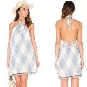 Make Offer Tularosa Gingham Halter Pom Pom Dress